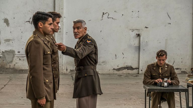 Catch-22 Yossarian (Christopher Abbott), Clevinger (Pico Alexander), Scheisskopf (George Clooney), and Major (Lewis Pullman), shown.(Photo by: Philipe Antonello / Hulu)