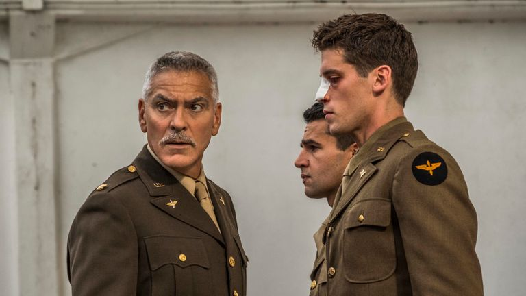 Catch-22 - Scheisskopf (George Clooney), Yossarian (Christopher Abbott), and Clevinger (Pico Alexander), shown. (Photo by: Philipe Antonello / Hulu)