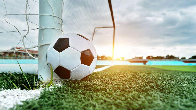Soccer ball is outside the goal