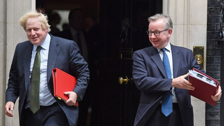 ONDON, ENGLAND - JUNE 15: Foreign Secretary Boris Johnson and Environment Secretary Michael Gove leave 10 Downing Street on June 15, 2017 in London, England. Prime Minister Theresa May is due to hold a series of meetings with the main Northern Ireland political parties today to allay mounting concerns over a government deal with the DUP in the wake of the UK general election. (Photo by Chris J Ratcliffe/Getty Images)