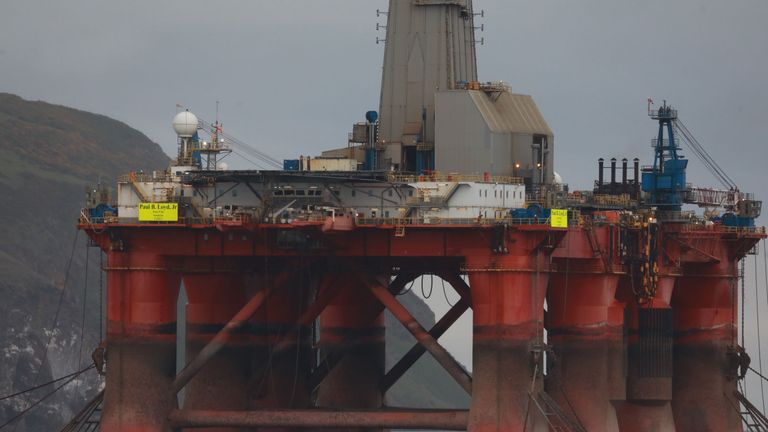 Greenpeace climbers on the oil rig in Cromarty Firth, Scotland