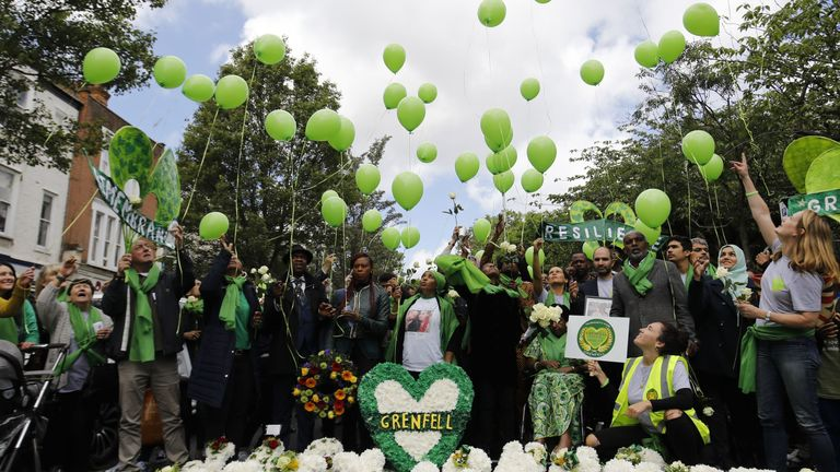 Members of the public released balloons at a memorial service