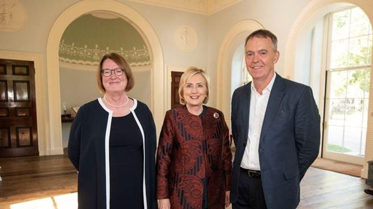 Hillary Clinton (c) is pictured alongside Jeremy Darroch and Professor Elwen Evans QC of Swansea University
