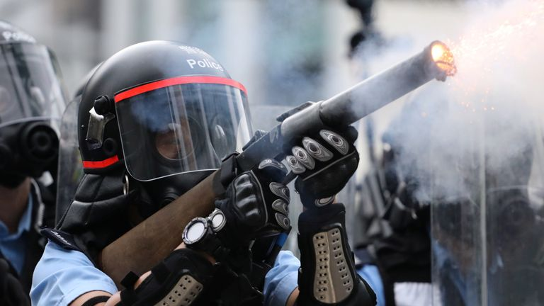 Hong Kong police fired tear gas during the demonstration against a proposed extradition bill