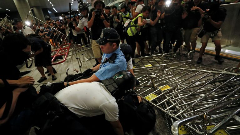 Several hundred protesters clashed with police outside Hong Kong's parliament building
