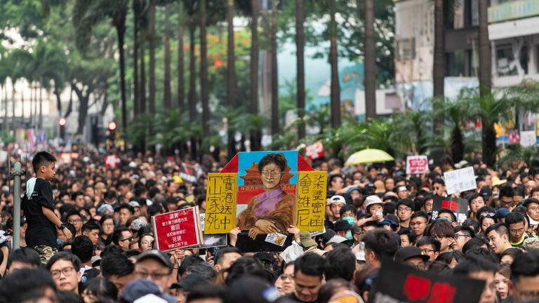 HONG KONG, HONG KONG - JUNE 16: Protesters demonstrate against the now-suspended extradition bill on June 16, 2019 in Hong Kong, China. Large numbers of protesters rallied on Sunday despite an announcement yesterday by Hong Kong's Chief Executive Carrie Lam that the controversial extradition bill will be suspended indefinitely. (Photo by Billy H.C. Kwok/Getty Images)