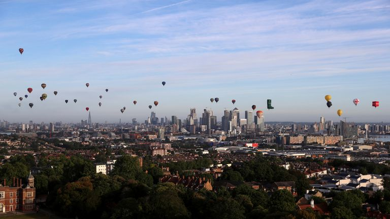 Londoners awoke on Sunday morning to see dozens of balloons gracing the skyline