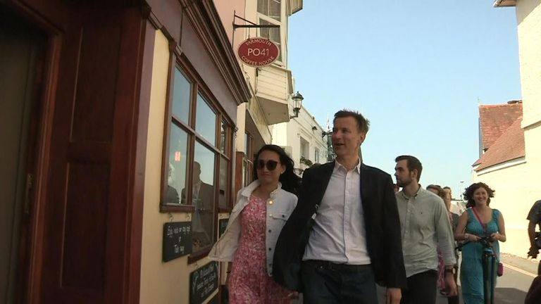 The walkabout saw him with his wife ahead of private hustings in the area.