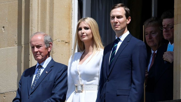 The president's daughter  and adviser Ivanka and her husband Jared Kushner, right, watched the proceedings from a balcony