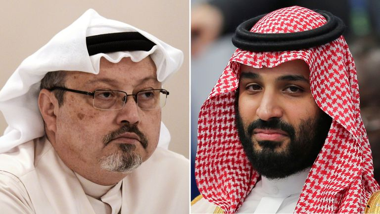 Mohammed bin Salman (right) denies being involved in Jamal Khashoggi's murder