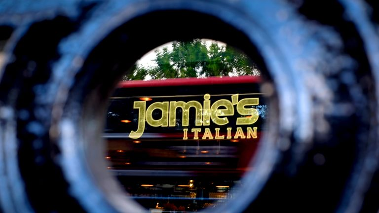 "A picture shows the signage at a closed-down Jamie's Italian restaurant in Glasgow on May 21, 2019. - British celebrity TV chef Jamie Oliver said Tuesday that he was ""devastated"" to announce that his restaurant group had collapsed, with the loss of 1,000 jobs. The group, which comprises 25 restaurants across Britain and includes the chains Jamie's Italian and Barbecoa steakhouse, has appointed administrators KPMG. (Photo by Andy Buchanan / AFP) / The erroneous mention[s] appearing in the metadat"
