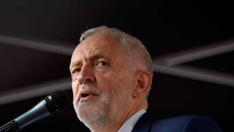 Jeremy Corbyn speaks during a rally against U.S. President Donald Trump, in London