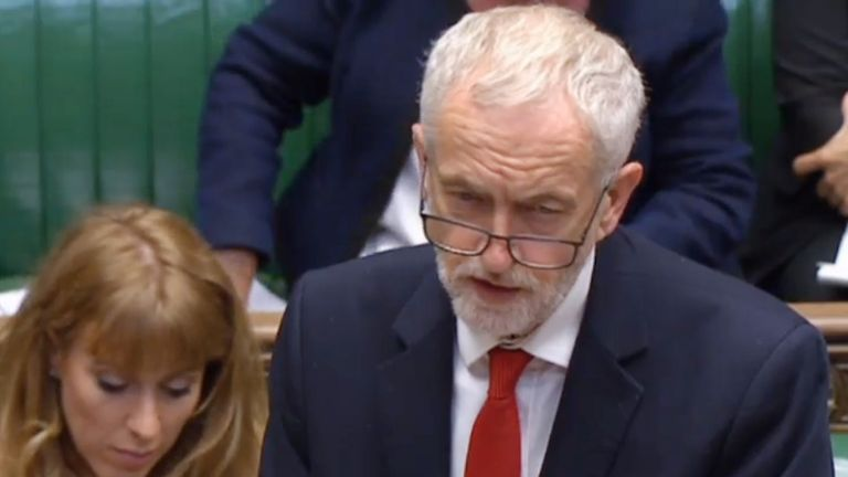 Labour Party leader Jeremy Corbyn responds during a debate in the House of Commons London.
