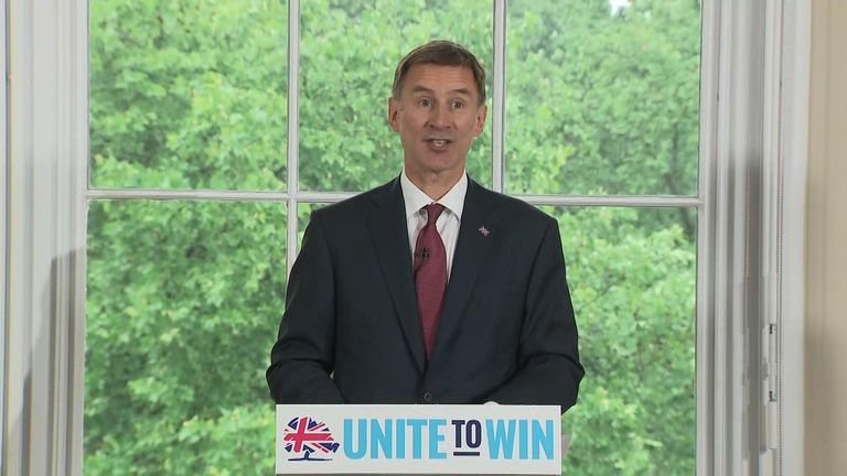Jeremy Hunt speaks at the launch of his leadership campaign
