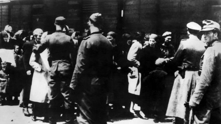 Jewish prisoners are selected for the gad chambers at the Auschwitz concentration camp