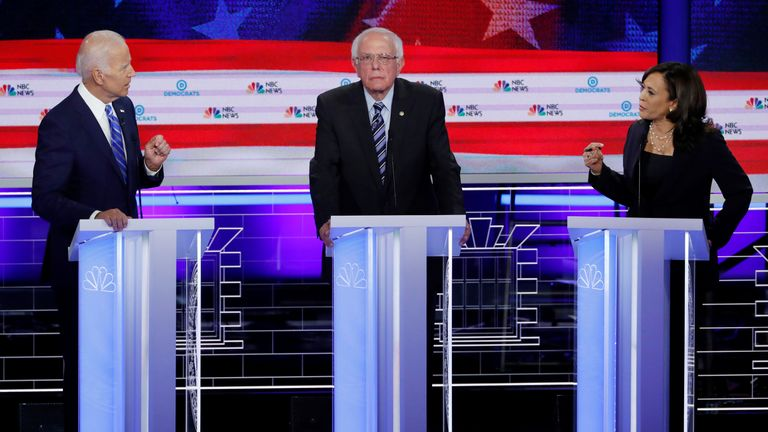 (L-R) Joe Biden, Bernie Sanders and Kamala Harris at the US Democratic debate