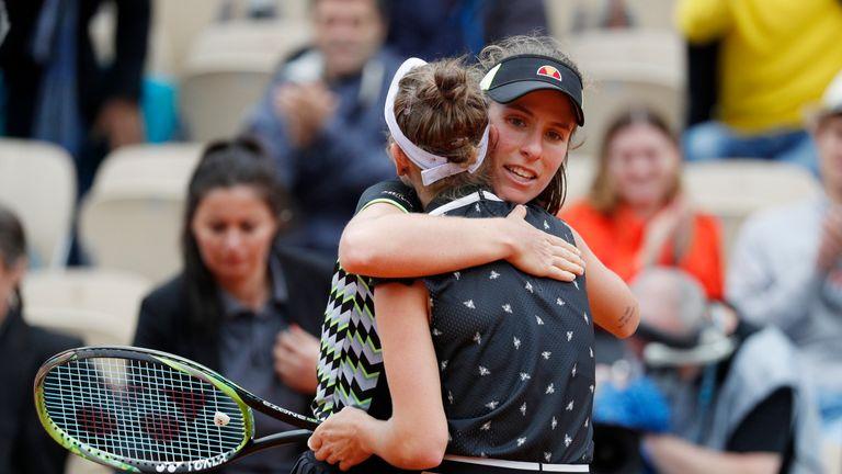 Johanna Konta congratulates Marketa Vondrousova of the Czech Republic after their semifinal match