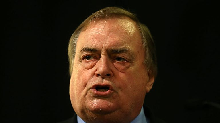 LONDON, ENGLAND - AUGUST 24: Labour peer John Prescott speaks ahead of a campaign address by Andy Burnham at a Labour leadership campaign rally on August 24, 2015 in London, England. Candidates are continuing to campaign for Labour party leadership with polls continuing to place left-winger Jeremy Corbyn in the lead. Voting is due to begin on the 14th of August with the result being announced on the 12th of September. (Photo by Carl Court/Getty Images)