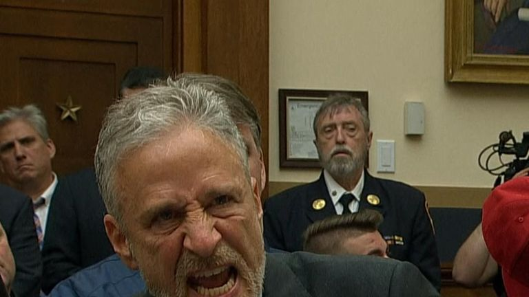 Jon Stewart is angry with Congress for their lack of attendance at a hearing on a bill that would ensure benefits for the next 70 years for 9/11 responders and victims