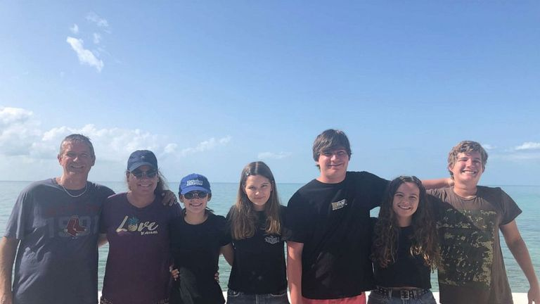 Jordan Lindsey, centre, with her parents, two brothers, sister and girlfriend on their trip to the Bahamas. Pic: Michael Lindsey
