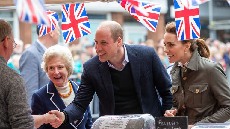 William and Kate meet market stall holders in Keswick