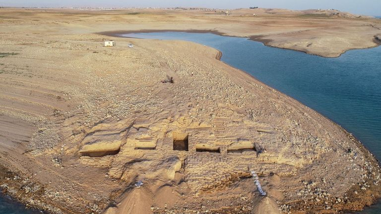 The ancient site of Kemune is revealed on the bed of the Mosul Dam reservoir. Pic: IANES