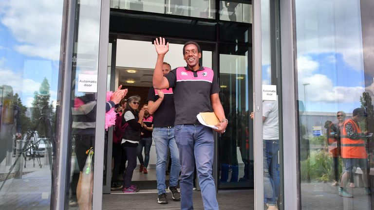 Gay rugby player Ken Macharia leaves Bridgewater police station after reporting in to police. Mr Macharia is facing deportation after having asylum application rejected. PRESS ASSOCIATION Photo. Picture date: Thursday June 6, 2019. See PA story POLICE Macharia. Photo credit should read: Ben Birchall/PA Wire