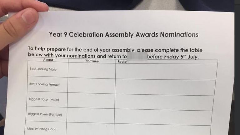 "A Kent school has apologised after its Year 9 students were asked to vote for the ""best looking"" pupils as part of an award ceremony at their end-of-year assembly."