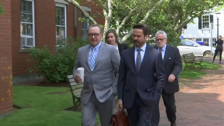 Actor Kevin Spacey arrives at a court in Nantucket where he is accused of groping an 18-year-old man in 2016.
