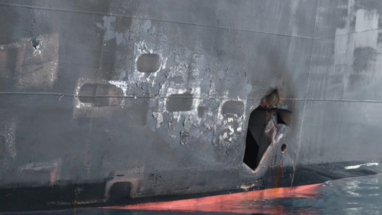 Hull penetration and blast damage on the starboard side of the Japanese owned motor tanker vessel Kokuka Courageous, which was sustained from a June 13 limpet mine attack while operating in the Gulf of Oman