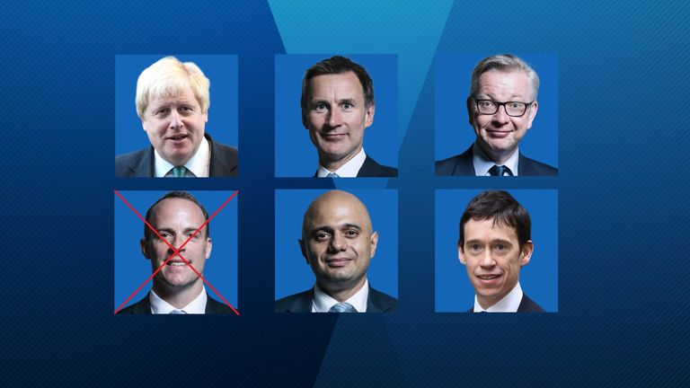 Boris Johnson, Jeremy Hunt, Michael Gove, Rory Stewart and Sajid Javid are still in the running