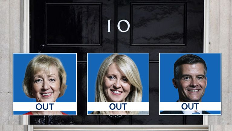 Andrea Leadsom, Esther McVey and Mark Harper are out of the Tory leadership contest