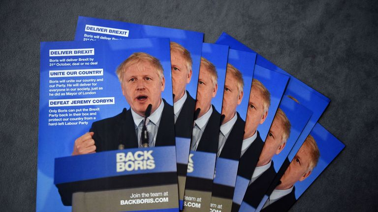 Leaflets in support of Boris Johnson at Tory hustings