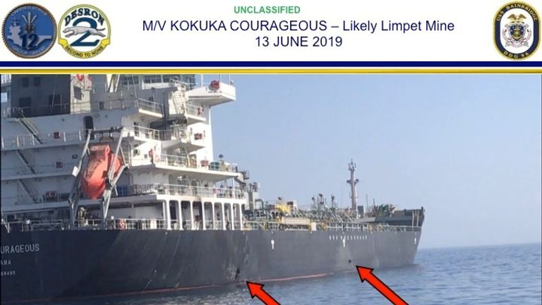 A picture from US Central Command shows a possible mine and damage to the Kokuka Courageous