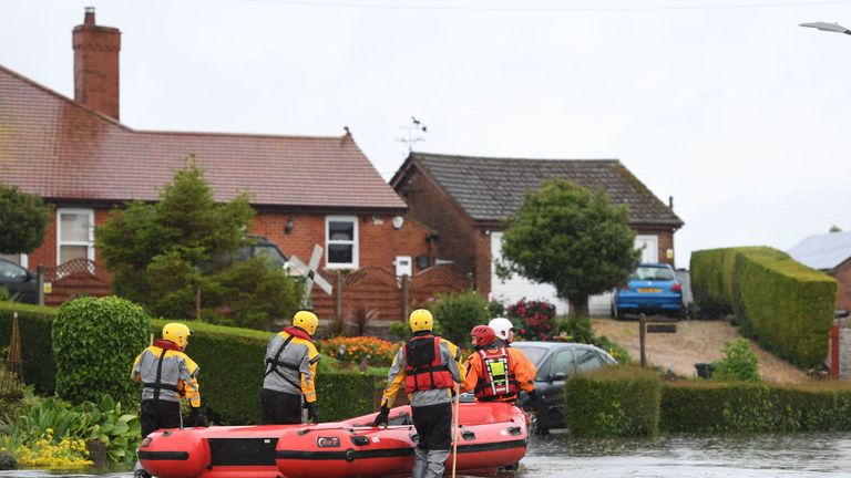 Rescue workers in Wainfleet All Saints, in Lincolnshire
