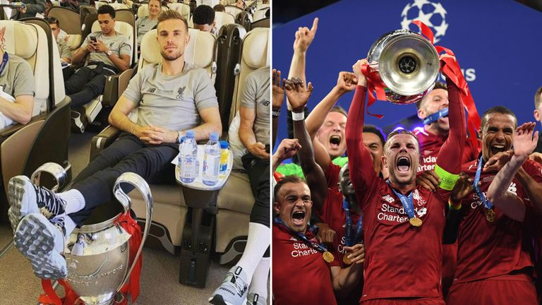Captain Jordan Henderson poses with the cup and celebrating after Liverpool's win. Pic: Jordan Henderson