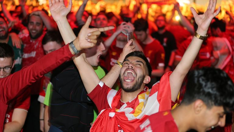 The party is underway for Liverpool fans