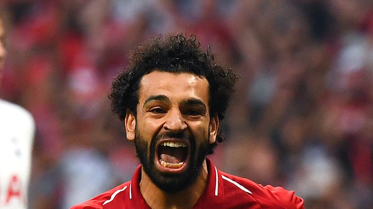 Mo Salah after scoring a penalty for Liverpool