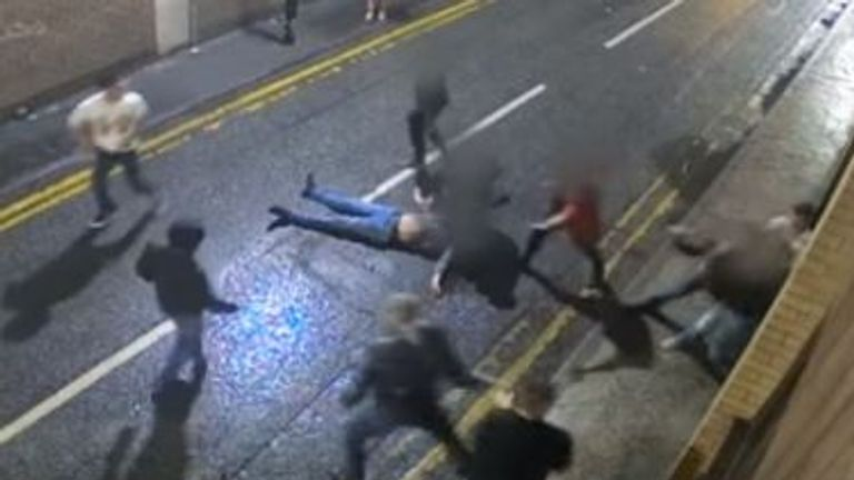 The victims were punched, kicked and stamped on leaving two unconscious in the street