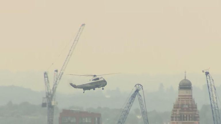 Marine One flies over London carrying Donald Trump
