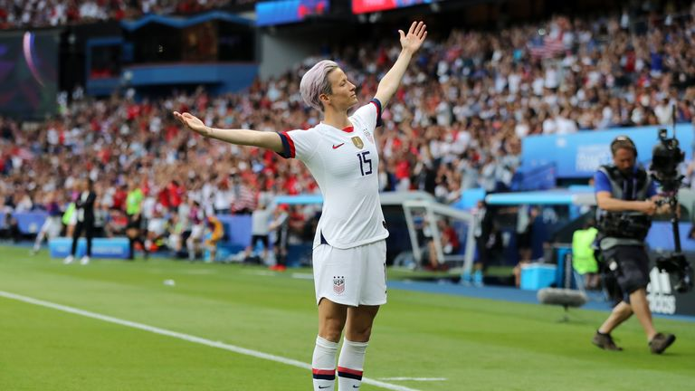 Megan Rapinoe celebrates after her early goal against France