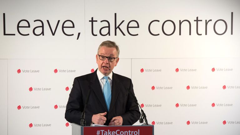 LONDON, ENGLAND - APRIL 19:  Justice Secretary Michael Gove MP gives a speech entitled....The facts of life say Leave.. on April 19, 2016 in London, England.