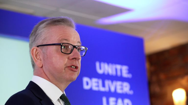 Britain's Environment Secretary Michael Gove speaks at the launch of his campaign for the Conservative Party leadership