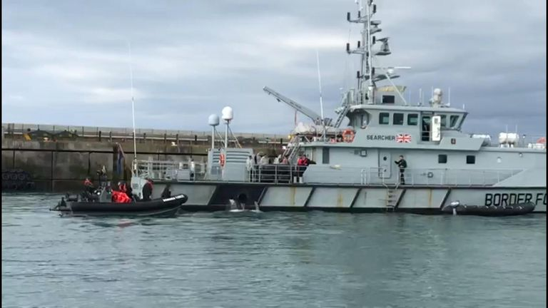 Migrants aboard the Border Force boat