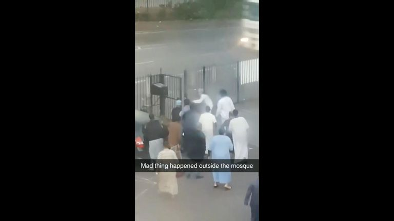 Exclusive footage obtained by Sky News shows worshippers detaining the attacker