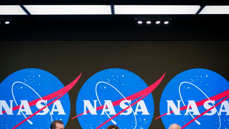 NASA's Jeff DeWit, Robyn Gatens and Bill Gerstenmaier announcing the news in New York