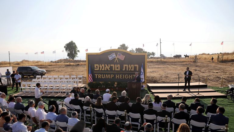 Israeli Prime Minister Benjamin Netanyahu speaks during a ceremony to unveil a sign for a new community named after U.S. President Donald Trump, in the Israeli-occupied Golan Heights June 16, 2019