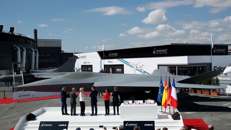 European defence ministers admire a mock up of the new jet