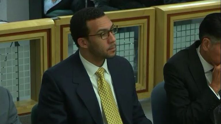 Kellen Winslow Jr during his rape trial. Pic: KGTV via AP