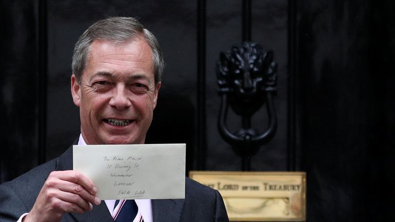 Nigel Farage delivers a letter to Downing Street